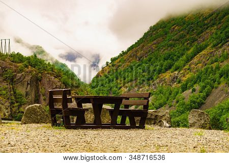 Picnic Area Wooden Table With Benches On Nature In Summertime. Norwegian National Tourist Scenic Rou