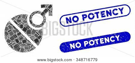 Mosaic Male Erection Tablet And Distressed Stamp Seals With No Potency Text. Mosaic Vector Male Erec
