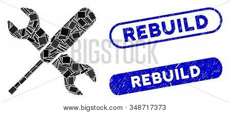 Mosaic Tools And Corroded Stamp Seals With Rebuild Phrase. Mosaic Vector Tools Is Formed With Random