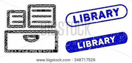 Mosaic Library Catalog And Rubber Stamp Seals With Library Text. Mosaic Vector Library Catalog Is Fo