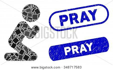 Mosaic Child Pray And Grunge Stamp Seals With Pray Phrase. Mosaic Vector Child Pray Is Formed With R