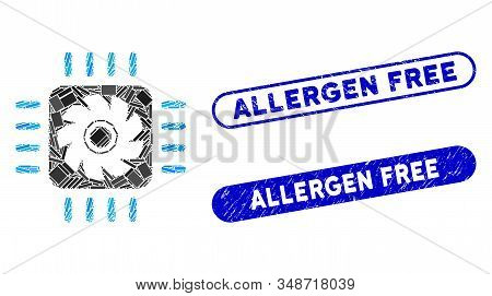 Mosaic Processor Cooler And Corroded Stamp Watermarks With Allergen Free Text. Mosaic Vector Process