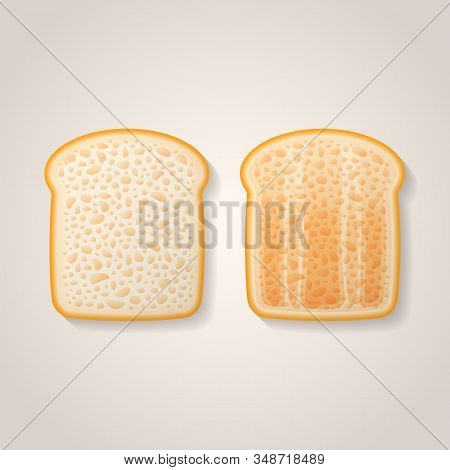 Slices Of Toast Isolated On Background. Fresh And Toasted Bread Vector Illustration.