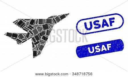 Mosaic Intercepter And Corroded Stamp Watermarks With Usaf Text. Mosaic Vector Intercepter Is Formed