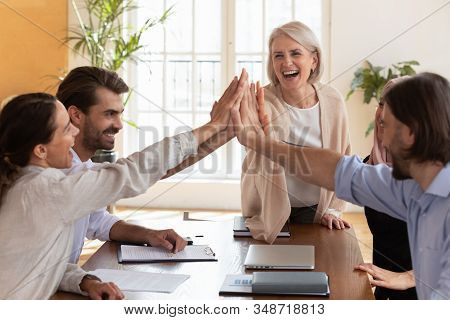 Overjoyed Multiethnic Colleagues Give High Five Celebrate Success