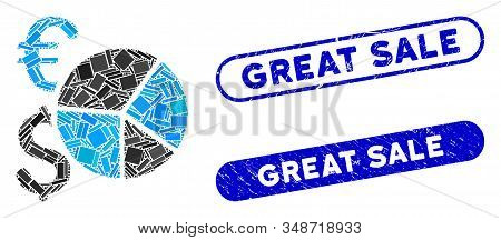 Mosaic Dollar And Euro Pie Chart And Rubber Stamp Seals With Great Sale Text. Mosaic Vector Dollar A