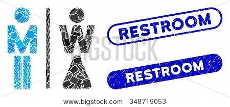 Mosaic Wc Persons And Distressed Stamp Watermarks With Restroom Text. Mosaic Vector Wc Persons Is Co