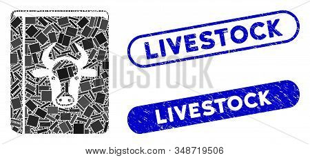 Mosaic Cow Book And Corroded Stamp Seals With Livestock Caption. Mosaic Vector Cow Book Is Created W