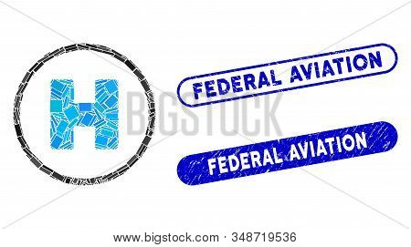 Mosaic Helicopter Landing Spot And Distressed Stamp Watermarks With Federal Aviation Text. Mosaic Ve