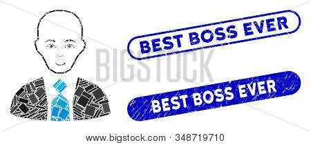 Mosaic Bald Boss And Distressed Stamp Seals With Best Boss Ever Phrase. Mosaic Vector Bald Boss Is D
