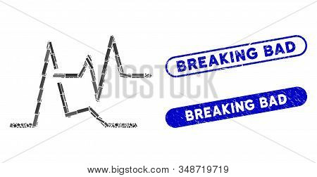 Mosaic Line Graphs And Distressed Stamp Seals With Breaking Bad Text. Mosaic Vector Line Graphs Is C