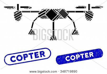 Mosaic Copter And Rubber Stamp Seals With Copter Caption. Mosaic Vector Copter Is Composed With Rand