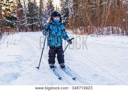Happy Little Boy On A Ski Trip