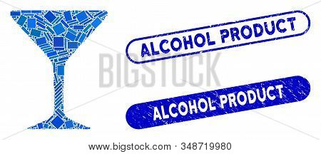 Collage Alcohol Glass And Distressed Stamp Seals With Alcohol Product Phrase. Mosaic Vector Alcohol