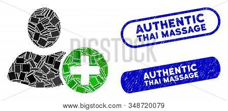 Mosaic Add User And Corroded Stamp Seals With Authentic Thai Massage Text. Mosaic Vector Add User Is