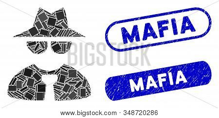 Mosaic Mafia Boss And Distressed Stamp Seals With Mafia Phrase. Mosaic Vector Mafia Boss Is Formed W