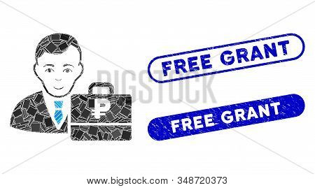 Mosaic Rouble Accounter And Corroded Stamp Seals With Free Grant Text. Mosaic Vector Rouble Accounte