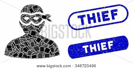 Mosaic Masked Thief And Grunge Stamp Watermarks With Thief Caption. Mosaic Vector Masked Thief Is Co