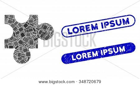 Mosaic Plugin And Rubber Stamp Seals With Lorem Ipsum Caption. Mosaic Vector Plugin Is Designed With