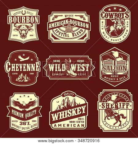 Vintage Wild West Monochrome Emblems Set With Premium Quality Whisky American Bourbon Rodeo Show She
