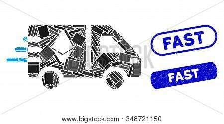 Mosaic Ethereum Fast Delivery Car And Corroded Stamp Seals With Fast Caption. Mosaic Vector Ethereum
