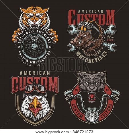 Colorful Animals Bikers Mascots Badges Set With Moto Parts Angry Wild Boar And Eagle Heads In Helmet