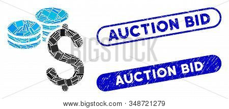 Mosaic Dollar Coins And Rubber Stamp Seals With Auction Bid Phrase. Mosaic Vector Dollar Coins Is Cr