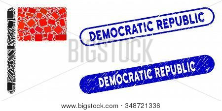 Mosaic Flag And Distressed Stamp Seals With Democratic Republic Text. Mosaic Vector Flag Is Composed