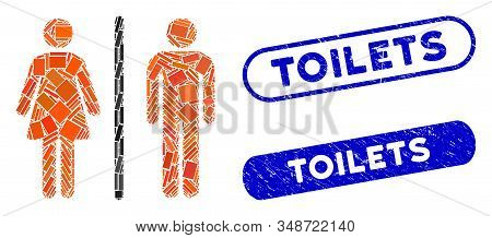 Mosaic Toilets And Rubber Stamp Seals With Toilets Caption. Mosaic Vector Toilets Is Designed With R