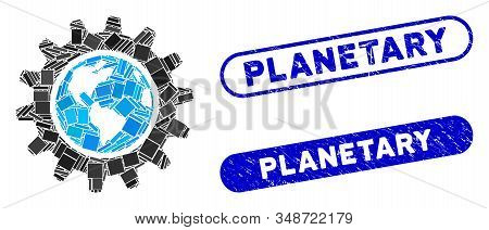 Mosaic Earth Engineering And Corroded Stamp Seals With Planetary Caption. Mosaic Vector Earth Engine