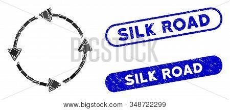 Mosaic Circular Route And Grunge Stamp Seals With Silk Road Text. Mosaic Vector Circular Route Is De