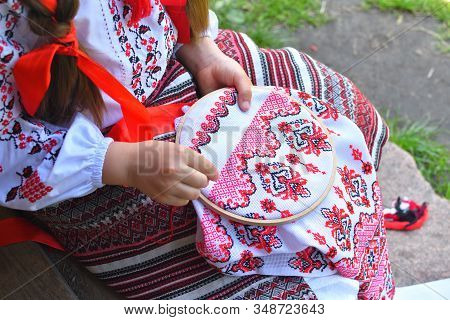 Girl Embroidery Rushnik.hands Of Girl Woman Female In Ukrainian Traditional Shirt Sewing Embroidery