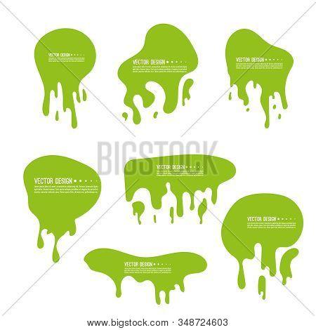 Vector Goo Dripping Splodges Of Slime. Green Dirt Splat, Drop And Blob. Toxic Liquid Frames Set.