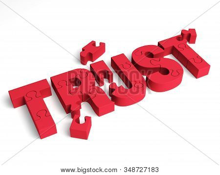 A 3d Illustration Of Red Puzzle Pieces That Are Partially Assembled To Form The Word Trust Symbolizi