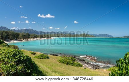 Panorama Of The Wide Sandy Kailua Beach With Mountains In Background On East Coast Of Oahu In Hawaii