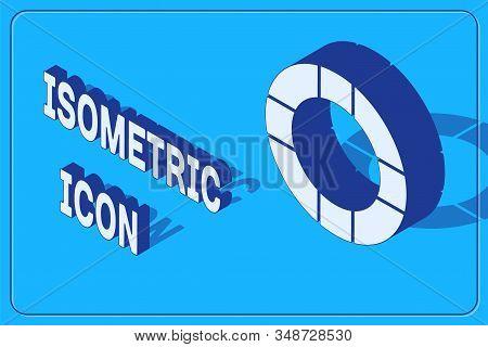 Isometric Lifebuoy Icon Isolated On Blue Background. Lifebelt Symbol. Vector Illustration