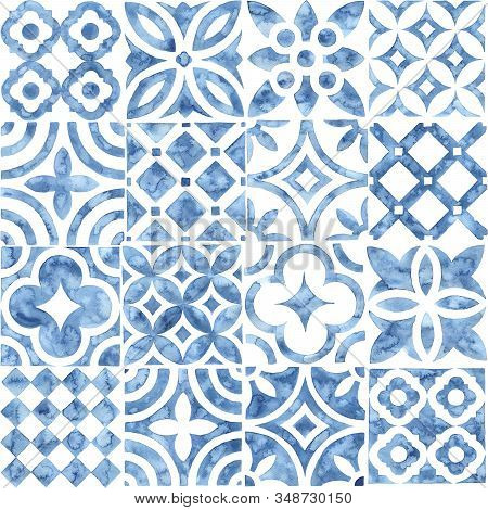 Seamless Moroccan Pattern. Square Vintage Tile. Blue And White Watercolor Ornament Painted With Pain