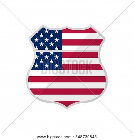 American Freeway Sign Vintage Usa Flag, Great Design For Any Purposes. Flag Background. Sticker Embl