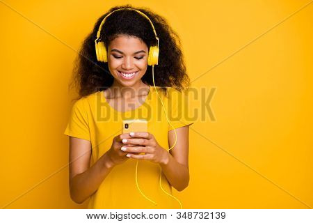 Close-up Portrait Of Her She Nice Attractive Cheerful Cheery Wavy-haired Girl Music Lover Choosing P