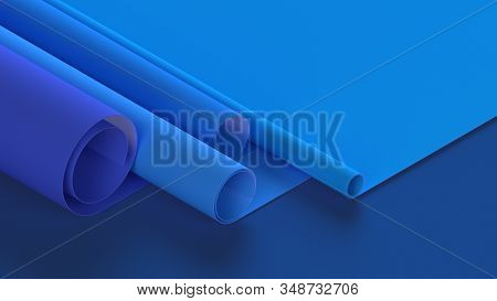 Isometric Geometric Abstract 3d Illustration Of Blueprints Paper Rolls Layers On Blue Modern Tech Ba
