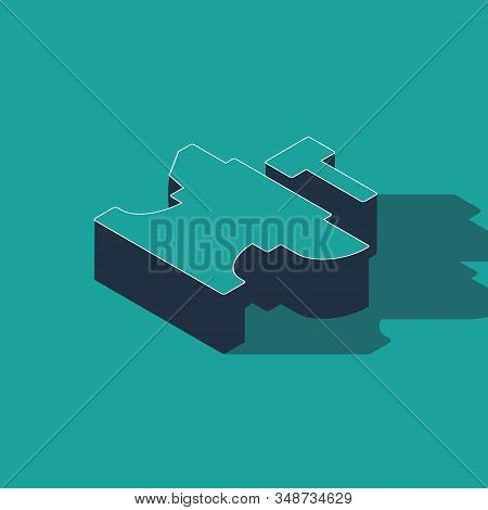 Isometric Anvil For Blacksmithing And Hammer Icon Isolated On Green Background. Metal Forging. Forge