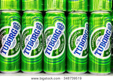 Samara, Russia - October 5, 2019: Tuborg Alcoholic Beer Ready For Sale On The Shelf In Superstore. V