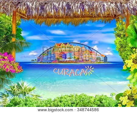 Collage About Willemstad At Island Curacao, Netherlands Antilles