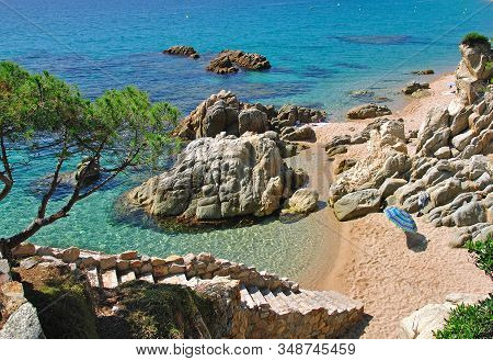 Idyllic Beach At Costa Brava Near Tossa De Mar,catalonia,mediterranean Sea,spain
