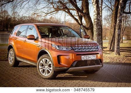 Moscow, Russia - December 20, 2019:all New Land Rover Discovery Sport 2020 Is Parked On The Waterfro