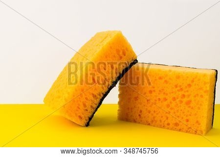 Two Yellow Dishwashing Sponges, Cleaners, Detergents, Household Cleaning Sponge For Cleaning, Househ