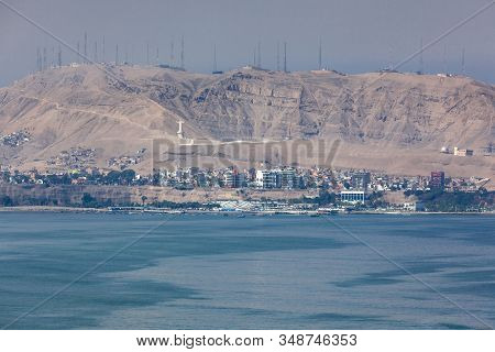 Miraflores, Lima, Peru - May 10 , 2016: View Across The Bay From Miraflores To The Christ Statue And