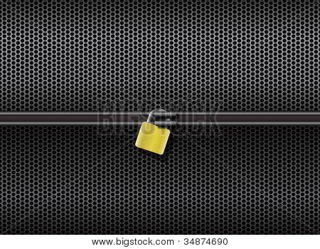 Abstract grid metal lock horizontal