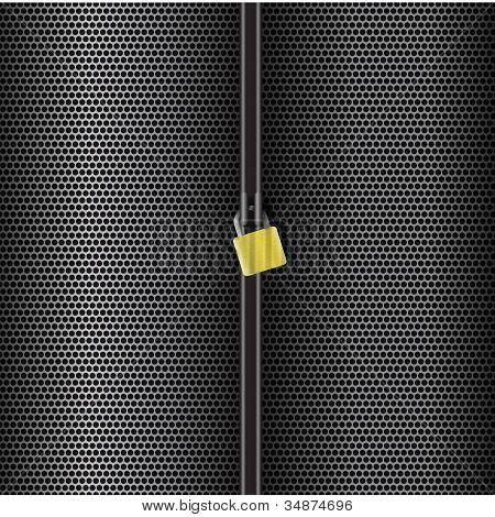 Abstract grid metal lock vertical