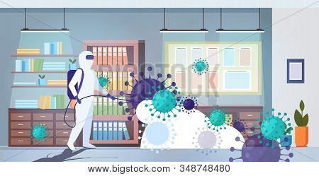 Specialist In Hazmat Suit Cleaning Disinfecting Coronavirus Cells Epidemic Mers-cov Office Interior